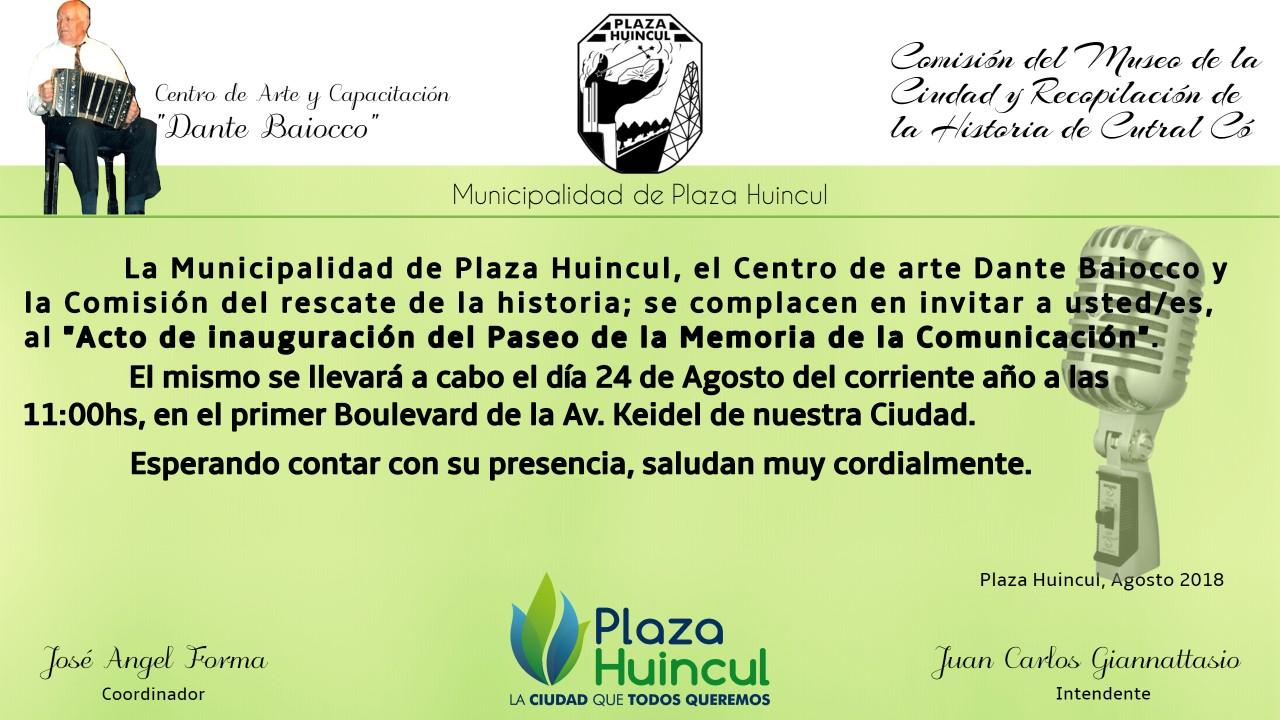 INVITACION PASEO DE LA MEMORIA DE LA COMUNICACION