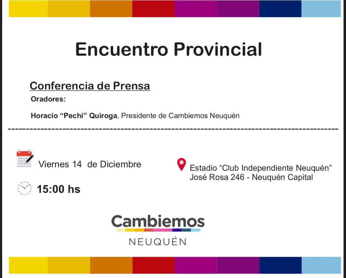 Viernes Encuentro Provincial de Cambiemos 15 hs en Club Independiente