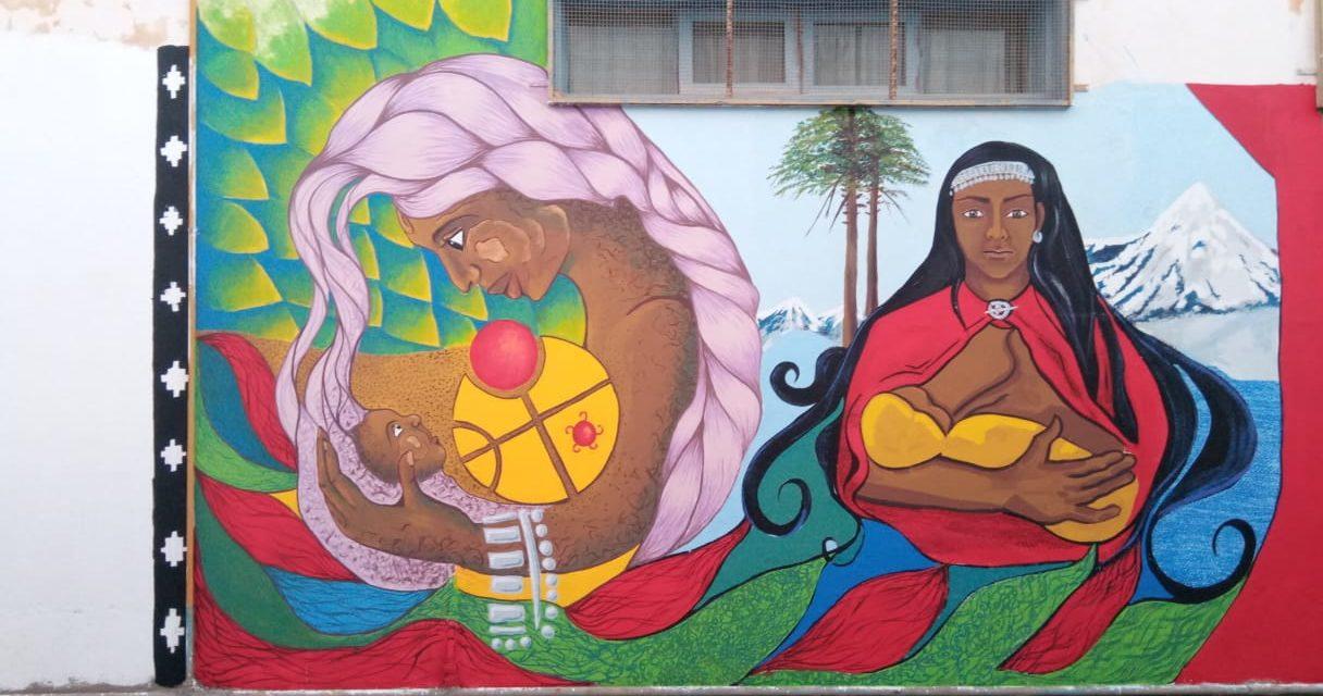 Mural en Sede Barrio Central en Homenaje a la Mujer y Madre Mapuche
