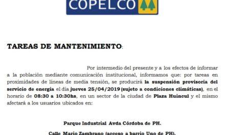 Suspensión de Energía en Plaza Huincul