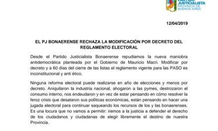 El Partido Justicialista Repudia la maniobra por el Gobierno de eliminar colectoras
