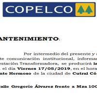 COPELCO informa que se producirá la suspensión de energía eléctrica en Cutral Co