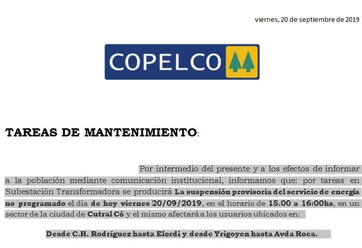 Corte de Electiricidad en Cutral Co