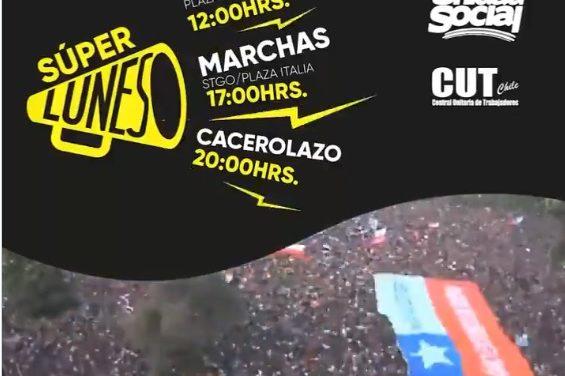 Chile:Super Lunes entre marchas y cacerolazos