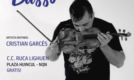 El violinista Gonzalo Basso en Plaza Huincul