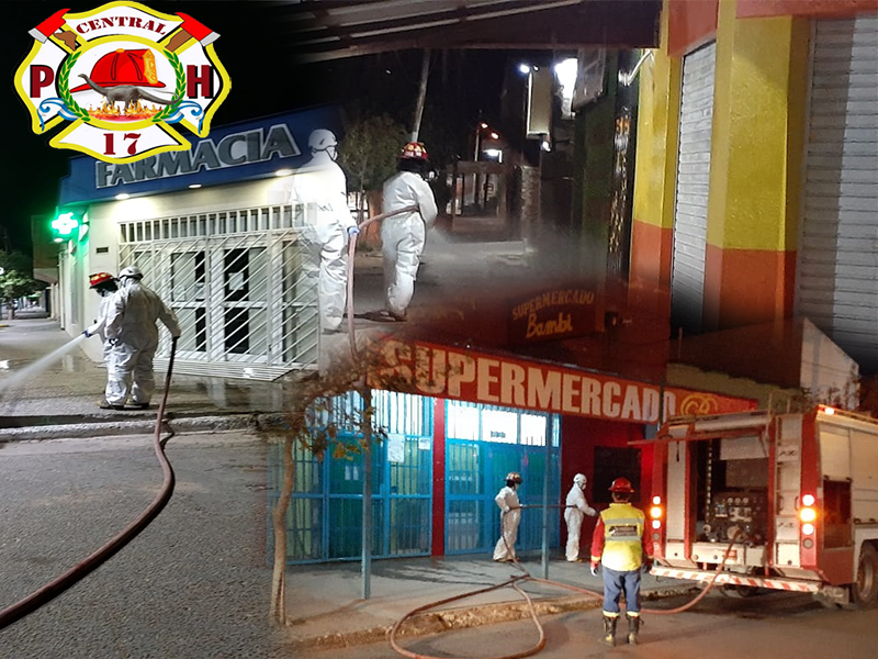 Bomberos Cuartel 17 realizo desinfección en La ciudad