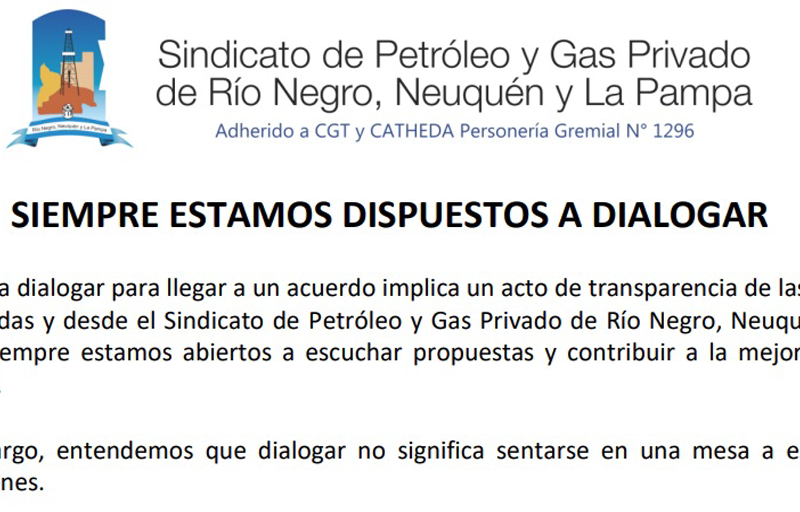 Sindicato de Petrolero: Siempre estamos dispuesto a dialogar
