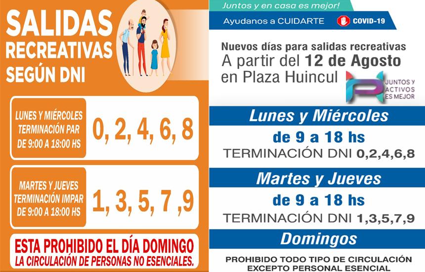 Nuevos Horarios para salidas recreativas en Cutral Co y Plaza Huincul
