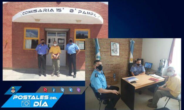 Seguridad: Comisario y oficial junto al Pte del Barrio Pampa