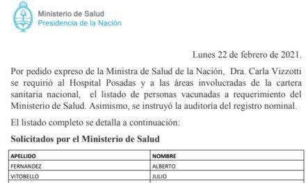 Desde Nación se publicó el listado de los que se vacunaron en el Ministerio de Salud y el Hospital Posadas.