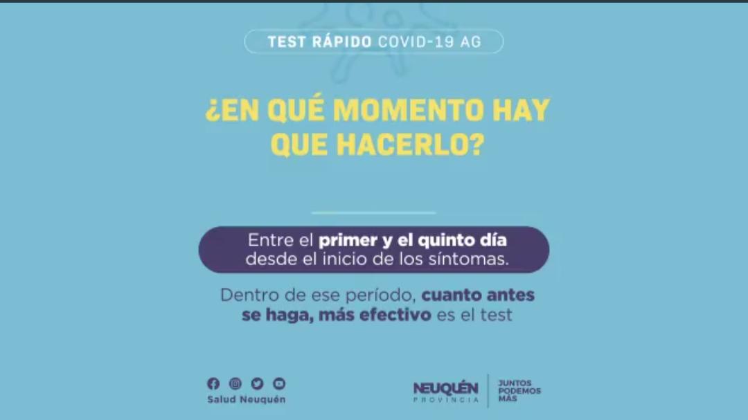 En los primeros cinco dias de síntoma se debe realizar el TEST rapido para una mayor efectividad